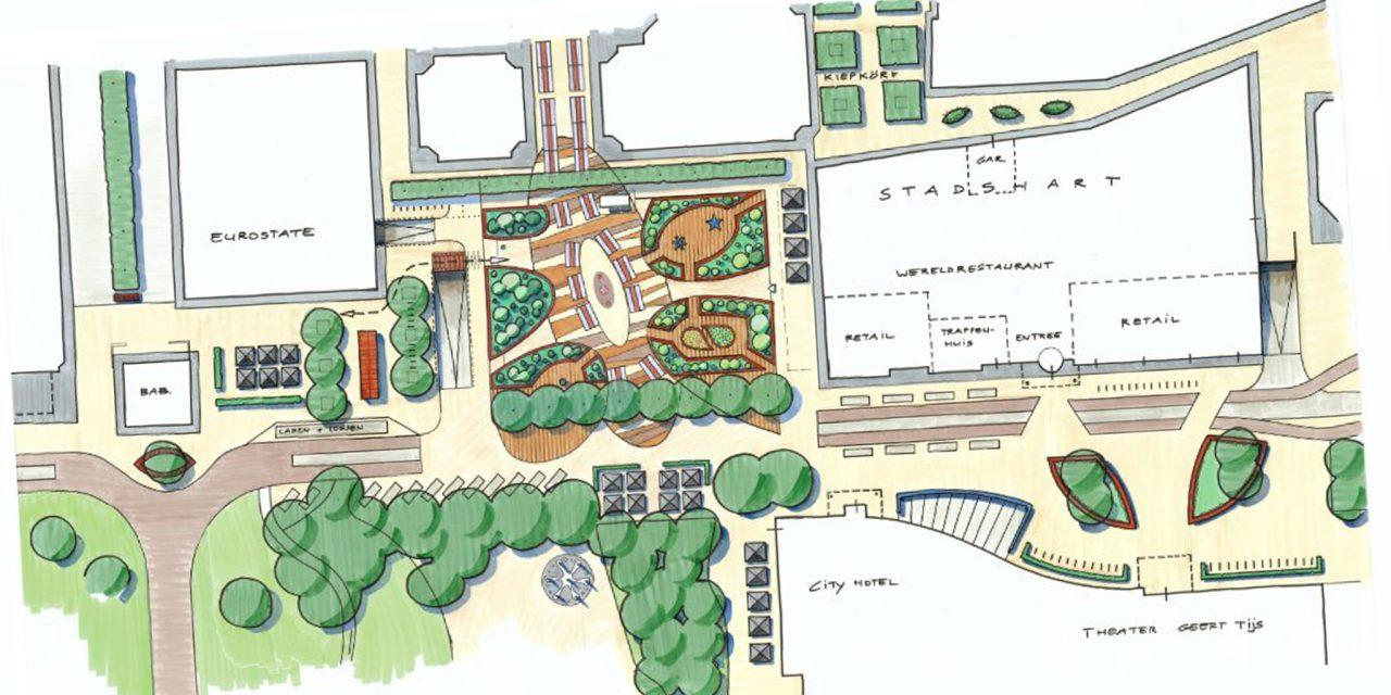 Europaplein Stadskanaal verbouwd tot stadstuin